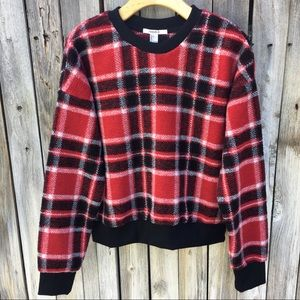 """NWT Forever 21 """"Clueless"""" Plaid Sweater Red L"""